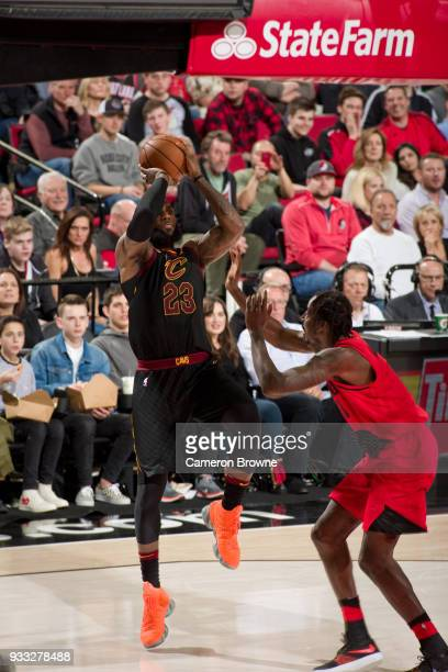 LeBron James of the Cleveland Cavaliers dunks against the Portland Trail Blazers on March 15 2018 at the Moda Center in Portland Oregon NOTE TO USER...