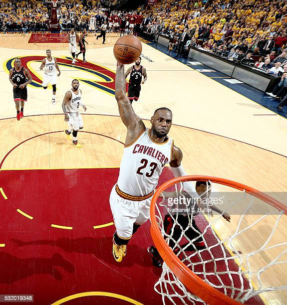 LeBron James of the Cleveland Cavaliers dunks against the Toronto Raptors in Game One of the Eastern Conference Finals during the 2016 NBA Playoffs...
