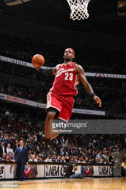 LeBron James of the Cleveland Cavaliers dunks against the Washington Wizards at the Verizon Center during the game on November 18 2009 in Washington...