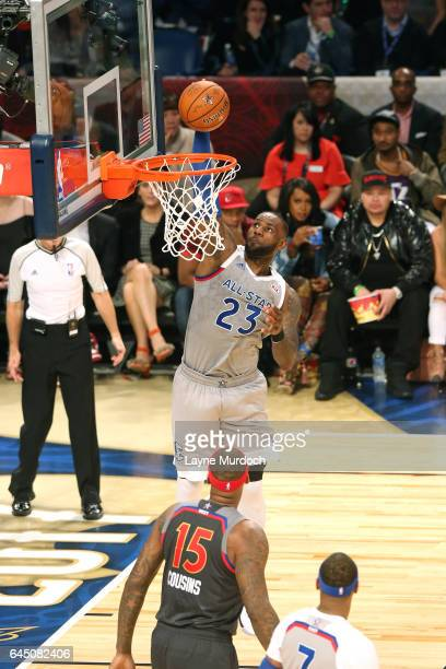 Lebron James of the Cleveland Cavaliers dunks during the NBA AllStar Game as part of the 2017 NBA All Star Weekend on February 19 2017 at the...