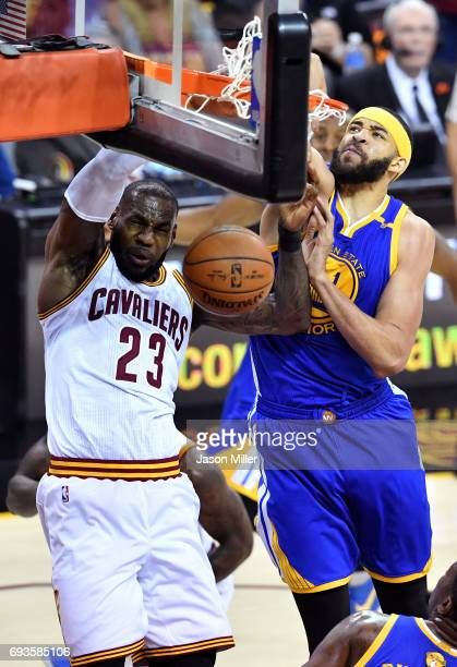 LeBron James of the Cleveland Cavaliers dunks in the first quarter against JaVale McGee of the Golden State Warriors in Game 3 of the 2017 NBA Finals...