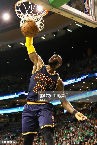LeBron James of the Cleveland Cavaliers dunks in the third quarter against the Boston Celtics during Game Five of the 2017 NBA Eastern Conference...
