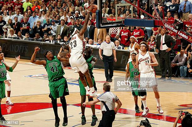 LeBron James of the Cleveland Cavaliers dunks over Kevin Garnett of the Boston Celtics in Game Four of the 2008 NBA Eastern Conference Semifinals on...