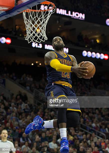 LeBron James of the Cleveland Cavaliers dunks the ball against the Philadelphia 76ers on January 10 2016 at the Wells Fargo Center in Philadelphia...