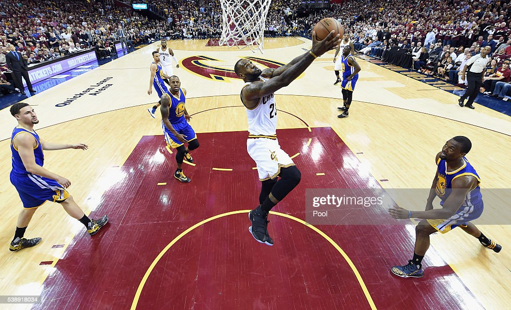 LeBron James #23 of the Cleveland Cavaliers dunks the ball against the Golden State Warriors in Game 3 of the 2016 NBA Finals at Quicken Loans Arena on June 8, 2016 in Cleveland, Ohio.