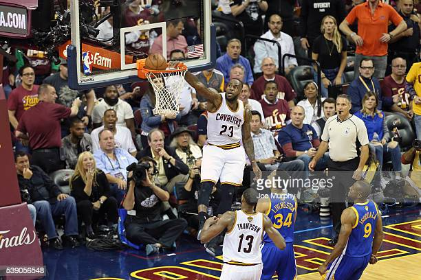 LeBron James of the Cleveland Cavaliers dunks the ball against the Golden State Warriors in Game Three of the 2016 NBA Finals on June 8, 2016 at The...