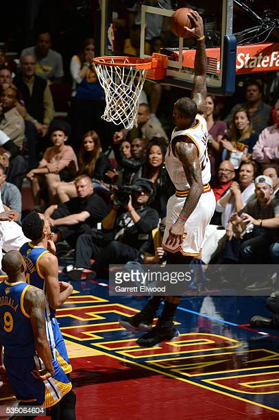 LeBron James of the Cleveland Cavaliers dunks the ball against the Golden State Warriors during the 2016 NBA Finals Game Three on June 8 2016 at...