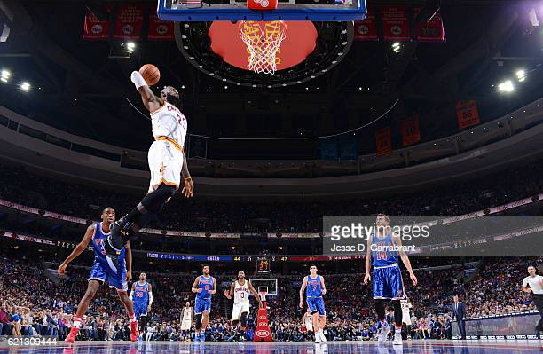 LeBron James of the Cleveland Cavaliers dunks the ball against the Philadelphia 76ers during game at the Wells Fargo Center on November 5 2016 in...