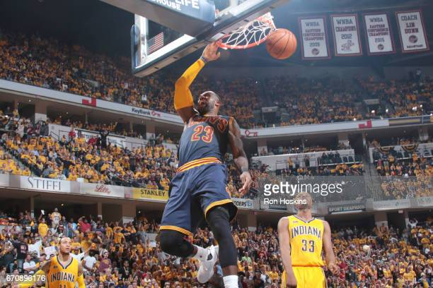 LeBron James of the Cleveland Cavaliers dunks the ball against the Indiana Pacers during Game Three of the Eastern Conference Quarterfinals of the...
