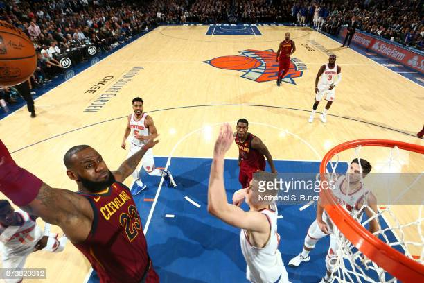 LeBron James of the Cleveland Cavaliers dunks the ball against the New York Knicks on November 13 2017 at Madison Square Garden in New York City New...