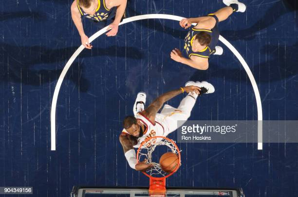 LeBron James of the Cleveland Cavaliers dunks the ball against the Indiana Pacers on January 12 2018 at Bankers Life Fieldhouse in Indianapolis...