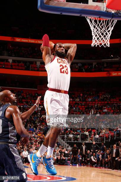 LeBron James of the Cleveland Cavaliers dunks the ball against the Detroit Pistons on January 30 2018 at Little Caesars Arena in Detroit Michigan...