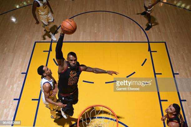 LeBron James of the Cleveland Cavaliers dunks the ball against the Golden State Warriors during Game One of the 2018 NBA Finals on May 31 2018 at...