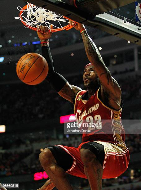 LeBron James of the Cleveland Cavaliers dunks the ball against the Chicago Bulls in Game Four of the Eastern Conference Quarterfinals during the 2010...