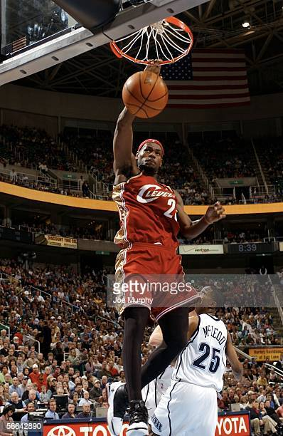 Lebron James of the Cleveland Cavaliers dunks the ball during a game between the Cleveland Cavaliers and Utah Jazz January 21 2006 at the Delta...