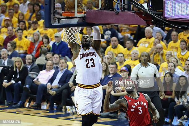 LeBron James of the Cleveland Cavaliers dunks the ball during the first half against the Toronto Raptors in game two of the Eastern Conference Finals...