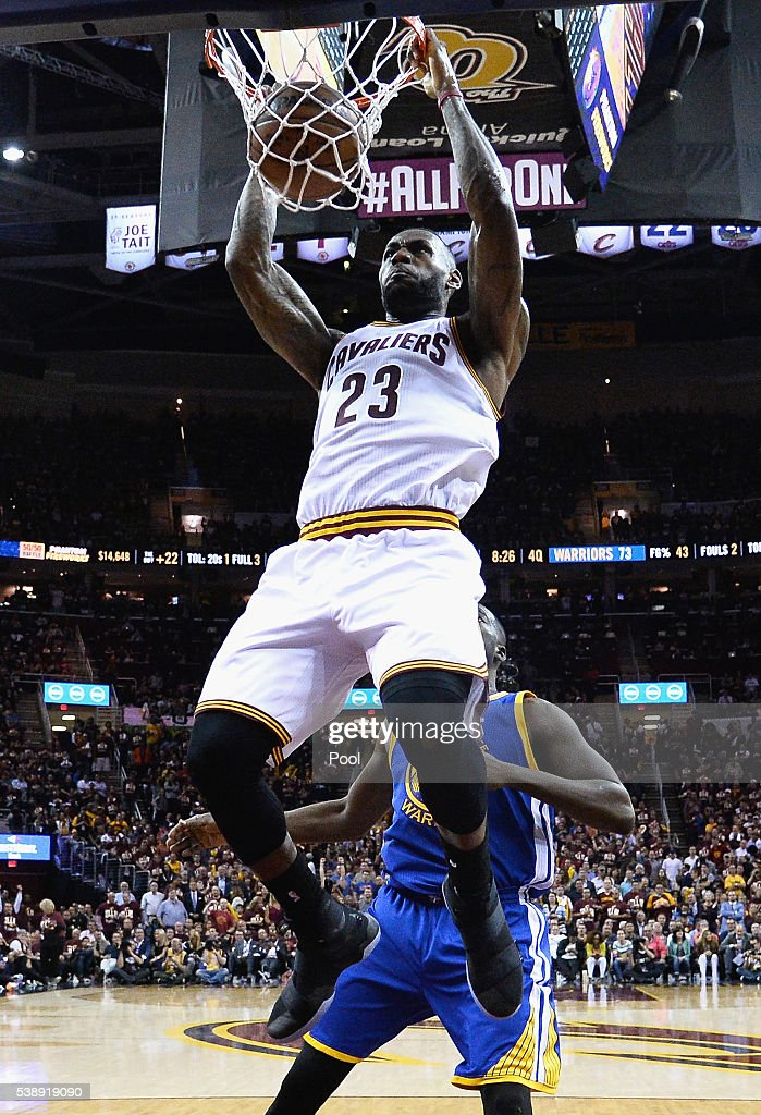 LeBron James #23 of the Cleveland Cavaliers dunks the ball during the second half against the Golden State Warriors in Game 3 of the 2016 NBA Finals at Quicken Loans Arena on June 8, 2016 in Cleveland, Ohio.