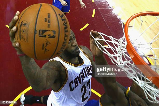LeBron James of the Cleveland Cavaliers dunks the ball during the second half against the Golden State Warriors in Game 4 of the 2016 NBA Finals at...