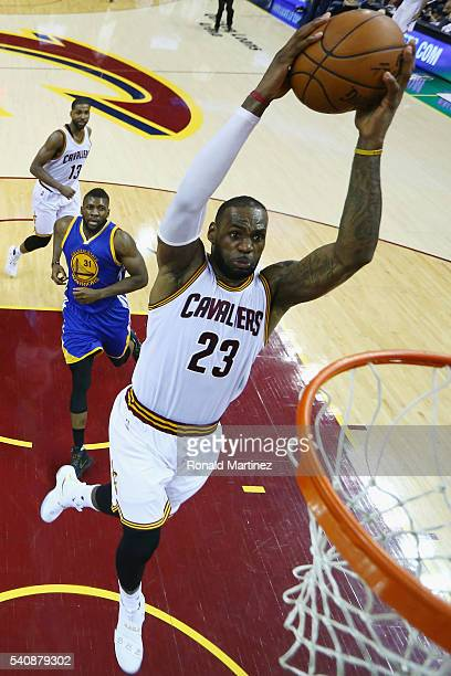 LeBron James of the Cleveland Cavaliers dunks the ball during the second half against the Golden State Warriors in Game 6 of the 2016 NBA Finals at...