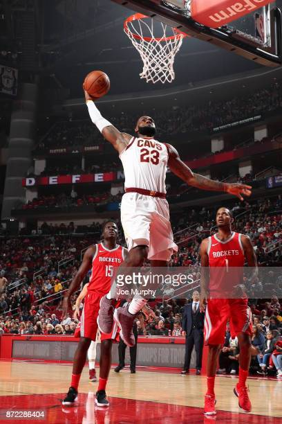 LeBron James of the Cleveland Cavaliers dunks the ball during the game against the Houston Rockets on November 9 2017 at Toyota Center in Houston...