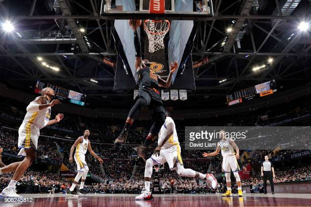 LeBron James of the Cleveland Cavaliers dunks the ball during the game against the Golden State Warriors on January 15 2018 at Quicken Loans Arena in...