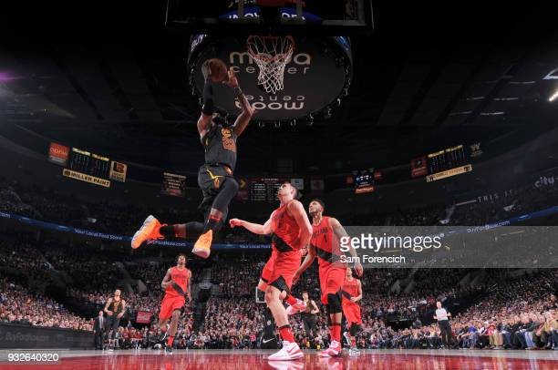 LeBron James of the Cleveland Cavaliers dunks the ball during the game against the Portland Trail Blazers on March 15 2018 at the Moda Center in...