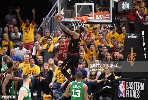 LeBron James of the Cleveland Cavaliers dunks the ball in the first half against the Boston Celtics during Game Three of the 2018 NBA Eastern...