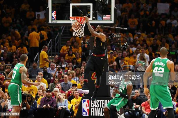 LeBron James of the Cleveland Cavaliers dunks the ball in the second half against the Boston Celtics during Game Three of the 2018 NBA Eastern...