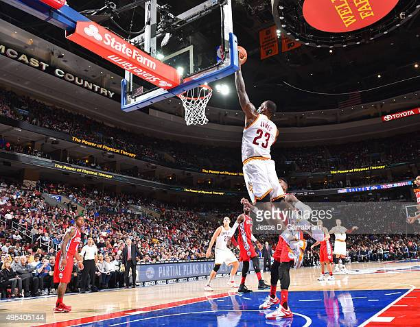 Lebron James of the Cleveland Cavaliers dunks the ball This makes his 25000 career point in the NBA at Wells Fargo Center on November 2 2015 in...