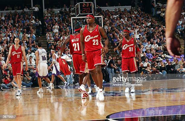 LeBron James of the Cleveland Cavaliers during his first game in the NBA against the Sacramento Kings at Arco Arena October 29 2003 in Sacramento...