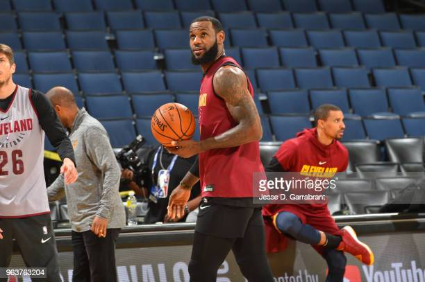 LeBron James of the Cleveland Cavaliers during practice and media availability as part of the 2018 NBA Finals on MAY 30 2018 at ORACLE Arena in...
