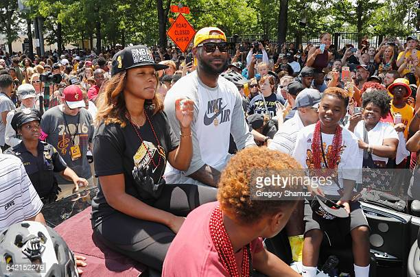 LeBron James of the Cleveland Cavaliers during the Cleveland Cavaliers Victory Parade And Rally on June 19 2016 in downtown Cleveland Ohio NOTE TO...