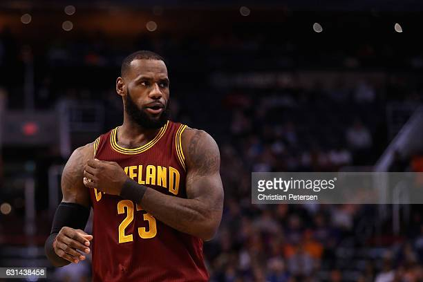 LeBron James of the Cleveland Cavaliers during the first half of the NBA game against the Phoenix Suns at Talking Stick Resort Arena on January 8...