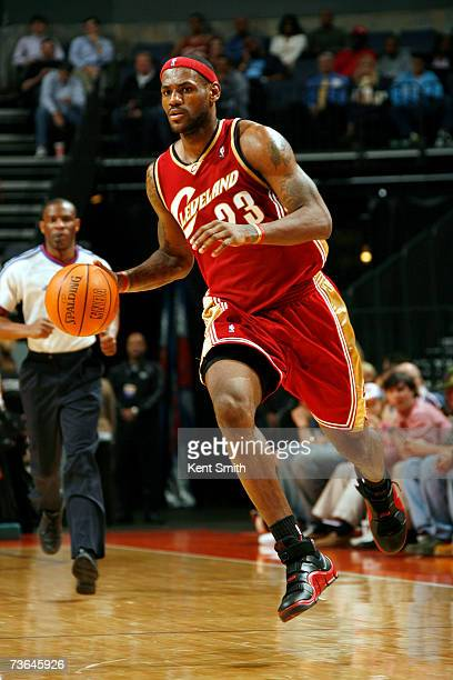 LeBron James of the Cleveland Cavaliers flies down the court against the Charlotte Bobcats on March 20 2007 at the Charlotte Bobcats Arena in...