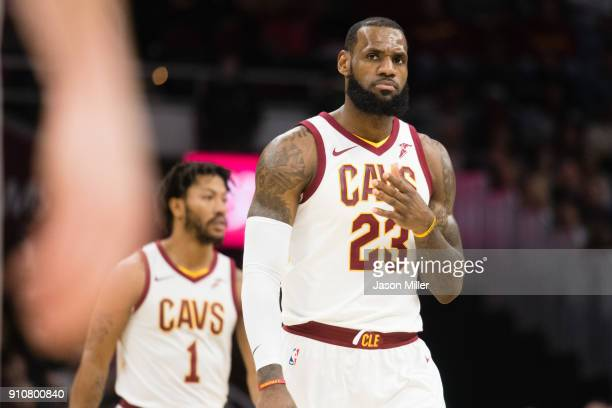 LeBron James of the Cleveland Cavaliers gestures a teammate to during the first half against the Indiana Pacers at Quicken Loans Arena on January 26...