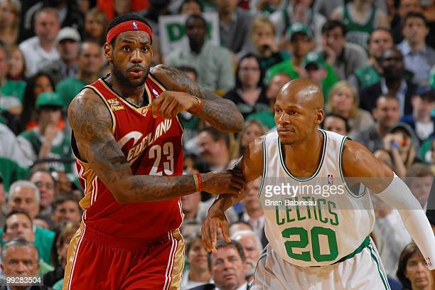 LeBron James of the Cleveland Cavaliers get in position against Ray Allen of the Boston Celtics in Game Six of the Eastern Conference Semifinals...