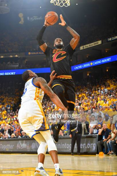 LeBron James of the Cleveland Cavaliers goes for a dunk during the game against the Golden State Warriors during Game Two of the 2017 NBA Finals at...