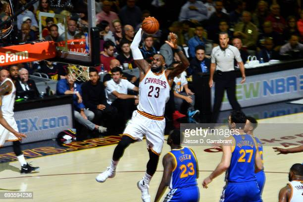 LeBron James of the Cleveland Cavaliers goes for a dunk during the game against the Golden State Warriors in Game Three of the 2017 NBA Finals on...