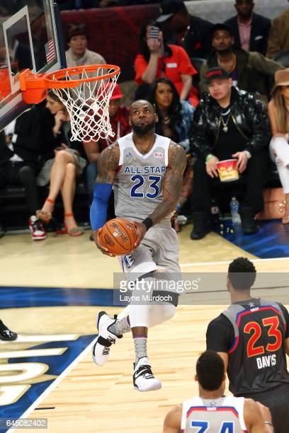 Lebron James of the Cleveland Cavaliers goes for a lay up during the NBA AllStar Game as part of the 2017 NBA All Star Weekend on February 19 2017 at...