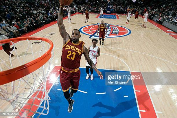 LeBron James of the Cleveland Cavaliers goes for the dunk against the Detroit Pistons during the game on January 29 2016 at The Palace of Auburn...