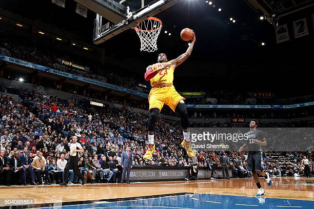 LeBron James of the Cleveland Cavaliers goes for the dunk during the game against the Minnesota Timberwolves on January 8 2016 at Target Center in...