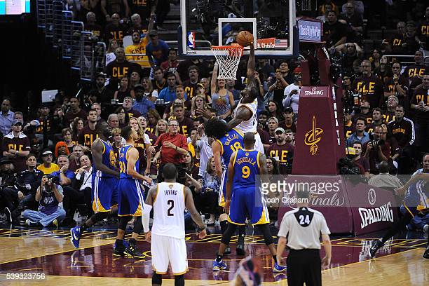LeBron James of the Cleveland Cavaliers goes for the dunk during the game against the Golden State Warriors in Game Four of the 2016 NBA Finals on...