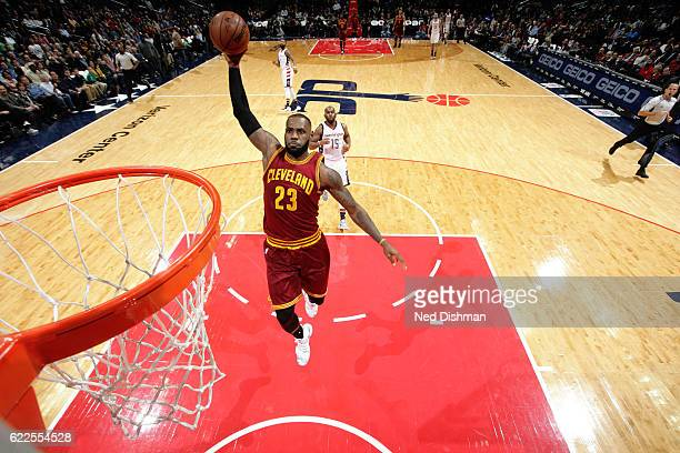 LeBron James of the Cleveland Cavaliers goes for the dunk during the game against the Washington Wizards on November 11 2016 at Verizon Center in...