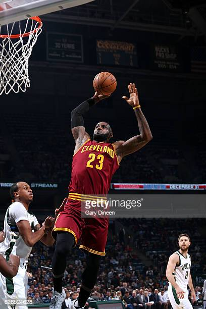 LeBron James of the Cleveland Cavaliers goes for the dunk during the game against the Milwaukee Bucks on November 29 2016 at the BMO Harris Bradley...