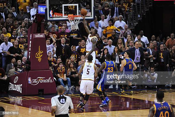 LeBron James of the Cleveland Cavaliers goes for the layup during the game against the Golden State Warriors in Game Four of the 2016 NBA Finals on...