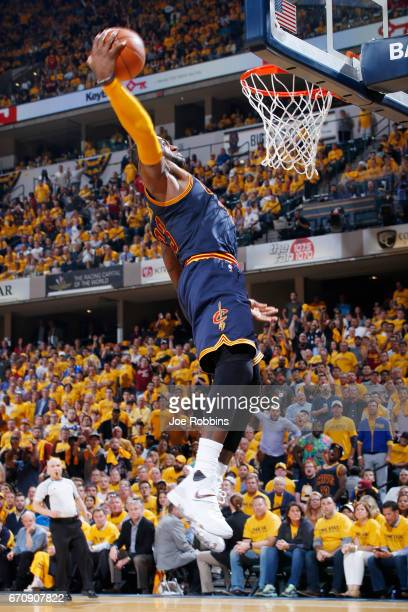LeBron James of the Cleveland Cavaliers goes in for a dunk in the fourth quarter of Game Five of the Eastern Conference First Round during the 2017...