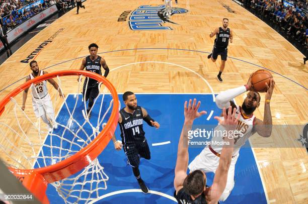 LeBron James of the Cleveland Cavaliers goes to the basket against the Orlando Magic on January 6 2018 at Amway Center in Orlando Florida NOTE TO...