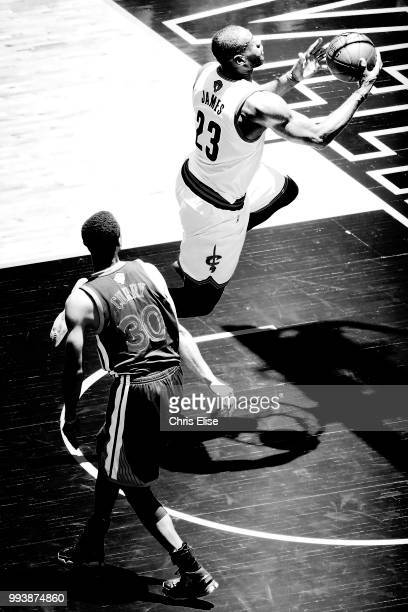 LeBron James of the Cleveland Cavaliers goes to the basket against the Golden State Warriors on June 10 2016 during Game Four of the 2016 NBA Finals...