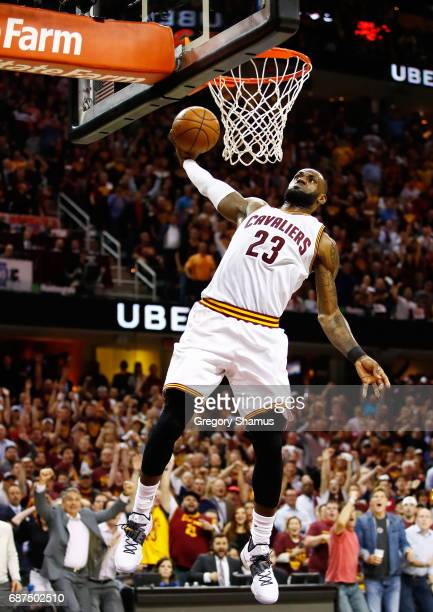 LeBron James of the Cleveland Cavaliers goes up against the Boston Celtics in the third quarter during Game Four of the 2017 NBA Eastern Conference...