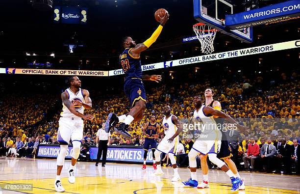 LeBron James of the Cleveland Cavaliers goes up against the Golden State Warriors in the first quarter during Game Two of the 2015 NBA Finals at...